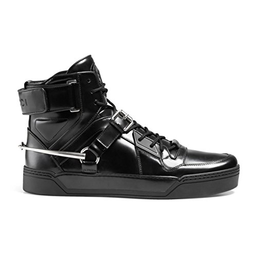 iny Leather GG Horsebit High Top Sneakers Shoes, Black, US 12.5 11.5 ()