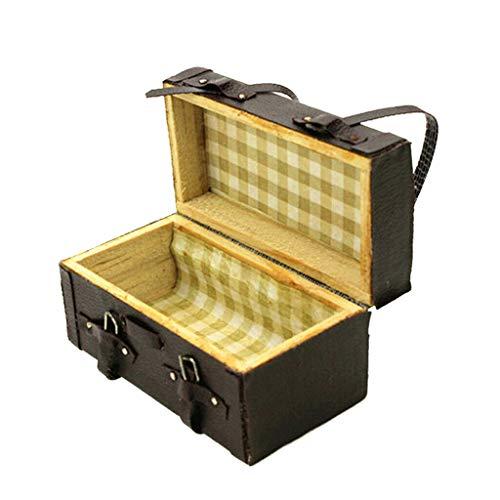 NATFUR Doll House Miniature Luggage Box for 1:12 Dollhouse Furniture Kit Black
