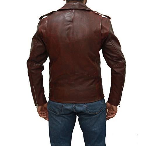 Brando cuero Am de larga e genuino nag para hombre Motocicleta sangre chaqueta manga xX1Hd8nW5a