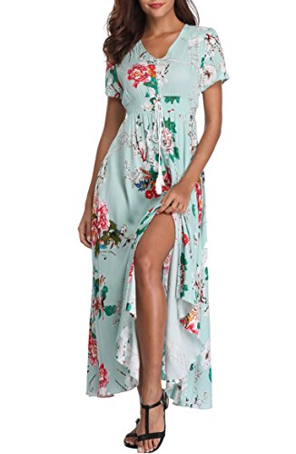 (VintageClothing Women's Floral Print Maxi Dresses Boho Button Up Split Beach Party Dress, Light Green, M)