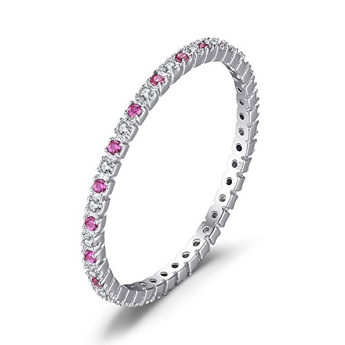 JewelryPalace Exquisite Round Created Ruby Wedding Band Ring 925 Sterling Silver Size 7