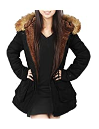 4HOW Women Hooded Warm Jacket Parka Winter Coats Lined with Faux Fur Jackets