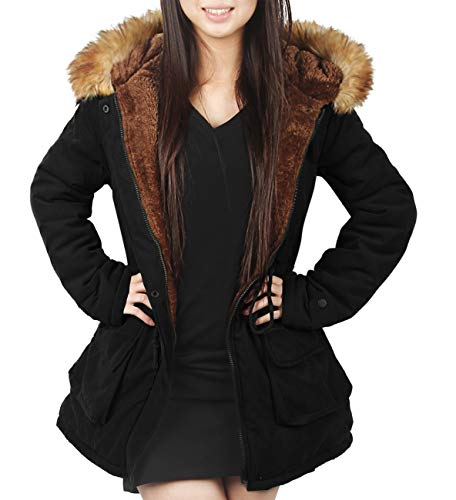 - 4HOW Womens Parka Jacket Hooded Warm Winter Coat Lined Faux Fur Long Parkas Coat Outdoor Black Size 8