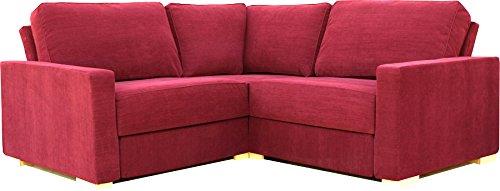 Ula 2X2 Compact Corner Sofas - Red Chenille Fabric: Amazon ...