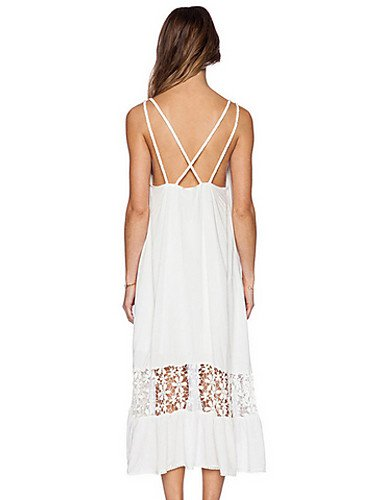 PU&PU Robe Aux femmes Ample Simple,Mosaïque A Bretelles Midi Polyester , white-one-size , white-one-size