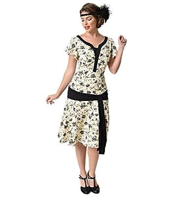 Unique Vintage 1930s Style Cream & Floral Ridley Flapper Day Dress
