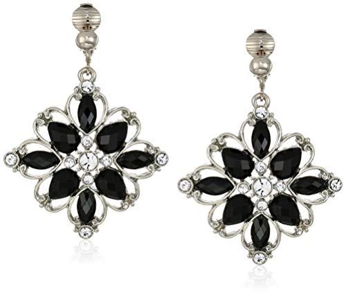 - 1928 Jewelry Women's Silver-Tone Jet Flower Drop Clip Earrings, Black, One Size, black