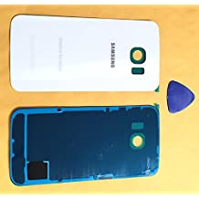 (md0410) Galaxy S6 EDGE WHITE Rear Back Glass Lens Battery Door Housing Cover + Adhesive + Tool Replacement For G925A G925T G925F