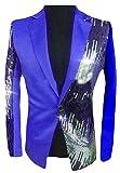 P&E Men Sequins Comfortable One Button Contrast Color Clubwear Moderator Sports Blazer Jacket Jewelry Blue XS
