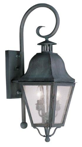 Livex Lighting 2551-61 Amwell 2-Light Outdoor Wall Lantern, Charcoal