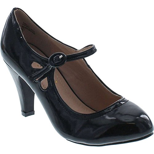 Mary Buckle Adjustable Jane (Chase & Chloe Kimmy-21 Women's Round Toe Pierced Mid Heel Mary Jane Style Dress Pumps (8.5 B(M) US, Black Patent))