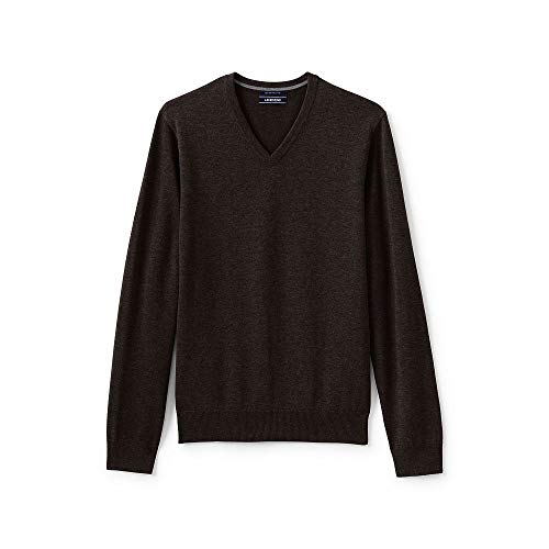 - Lands' End Men's Classic Fit Fine Gauge Supima Cotton V-Neck Sweater, L, Dark Mahogany Heather