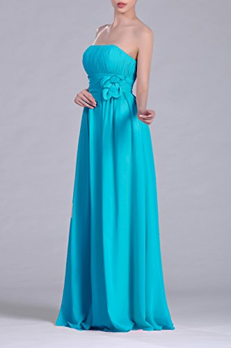 A Strapless Cyan Adorona Chiffon Dress Line Long Women's EBwvqxZ
