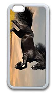 MOKSHOP Adorable Black stallion Soft Case Protective Shell Cell Phone Cover For Apple Iphone 6 (4.7 Inch) - TPU White