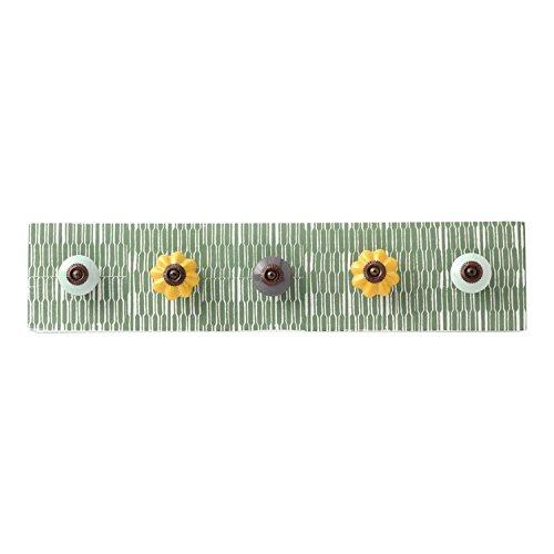 Hallmark Home Decorative Hanger with Ceramic Knobs (5 Hooks, Green)