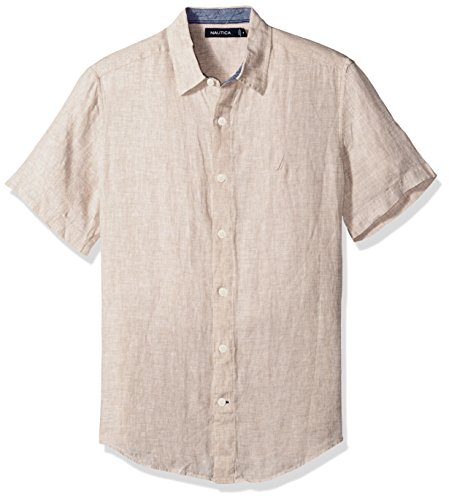 - Nautica Men's Short Sleeve Classic Fit Solid Linen Button Down Shirt, Coastline Khaki, Medium