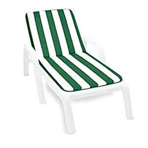 ARREDIAMOINSIEME-nelweb – Lima – Coussin pour chaise longue de piscine, plage ou jardin, tissu en coton, 100% fabriqué en Italie, modèle à rayures bleu