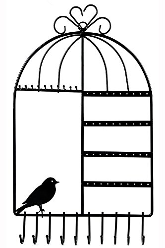 WELL-STRONG Earring Necklace Holder Birdcage Wall Mount Jewe