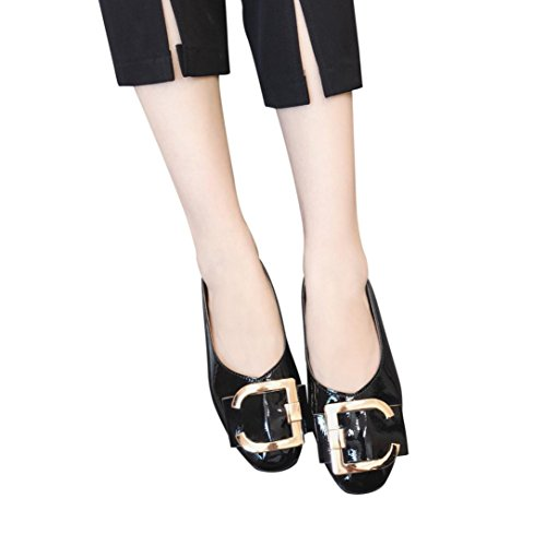 - Kinrui Womens Shallow Square Buckle Slip On Loafer Casual Low Flats Round Toe Shoes (Black, US:6.5)