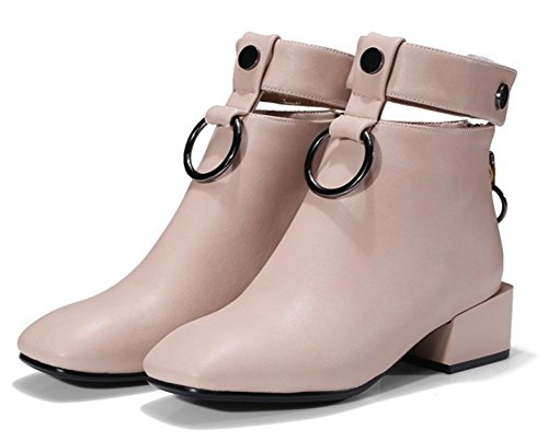 Aisun Womens Unique Metallic Square Toe Ankle Booties Back Zip Up Booties Chunky Low Heel Pink JWF7V5