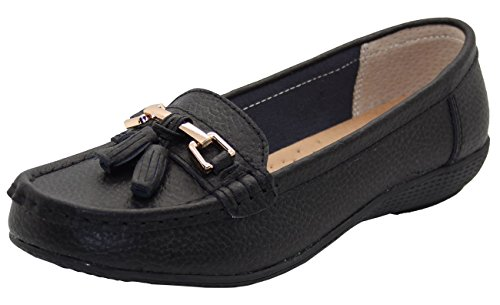 Women Leather Flat Loafer Ladies Casual Comfy Slider Low Wedge Heel Work Shoes Black pQMdO2vD