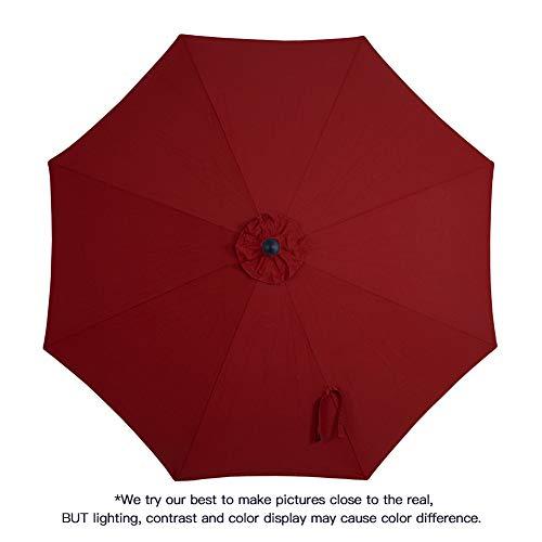 Tempera 10ft Auto-Tilt Patio Umbrella Outdoor Table Umbrella with 8 Ribs in Olefin Chili