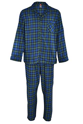 (Hanes Men's 100% Cotton Flannel Plaid Pajama Top and Pant Set, Green, Large)