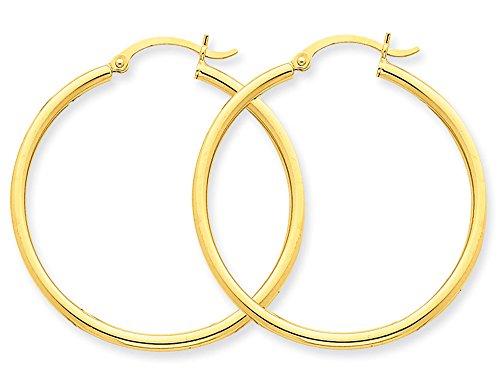 Hoop Earrings in 10K Yellow Gold 1 inch (1 mm)