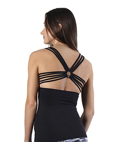Women's Yoga Tops Workouts Tanks Criss Cross Back Candy Color Racerback Tank Tops with Build in Bra (XL, Black)