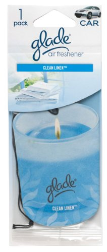 Glade Paper Candle Hanging Car and Home Air Freshener, Clean Linen Scent (Clean Linen Car Freshener)