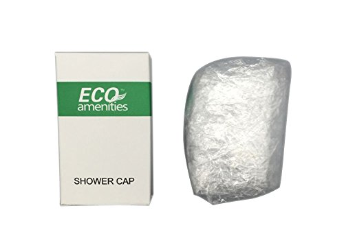 ECO Amenities Disposable Clear Shower Caps, Individually Wrapped Paper Box, Full Size Adult, 100 Caps per Case (Package Hotel)
