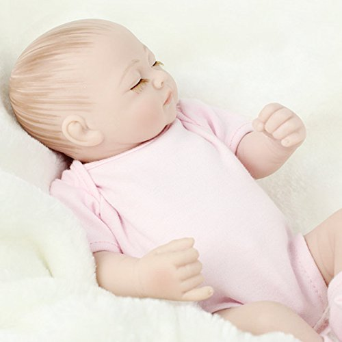 Joykit Reborn Doll, 11 inch Mini Doll Reborn Full Silicone Reborn Baby Doll Girls Toys Lifelike Doll Pink Christmas Gift for Children