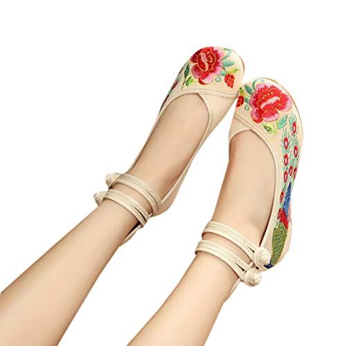 Richelieus Chaussures Fleurs Cheville La Chinoises À Unique Brodées Ioshapo Pour Bride Femmes Blanc 0cp1SdS