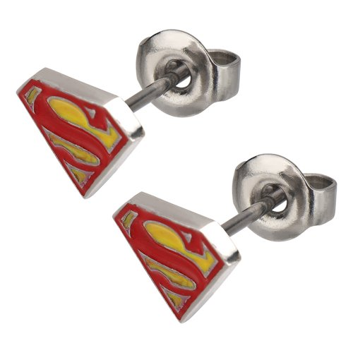 Stainless Steel Post with Red and Yellow Epoxy Superman Logo Stud Diamond Shape Earrings