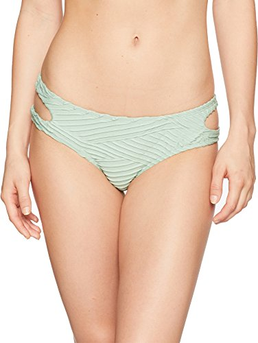 Bikini Lab Junior's Cut Out Hipster Bikini Swimsuit Bottom, sage//Sand Dunes, Extra Small