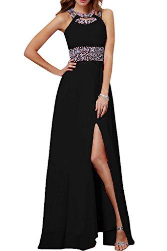 Damen Steine Schwarz Chiffon Festkleid Schlitz Stilvoll Lang Linie A Abendkleid Promkleid Ivydressing gIaqxdd