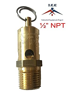 """150 PSI Air Compressor Safety Relief Pop Off Valve Solid Brass 1/2"""" Male NPT New"""