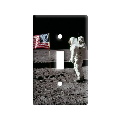 (Astronaut Moon Landing 1969 American Flag - Plastic Wall Decor Toggle Light Switch Plate Cover )