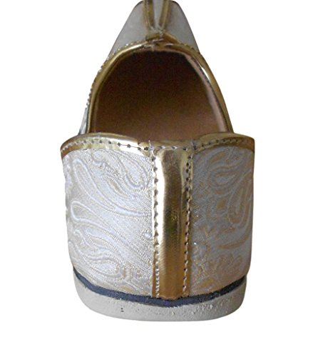 KALRA Creations Herren Traditionelle Seide indischen Designer Schuhe Cremefarben