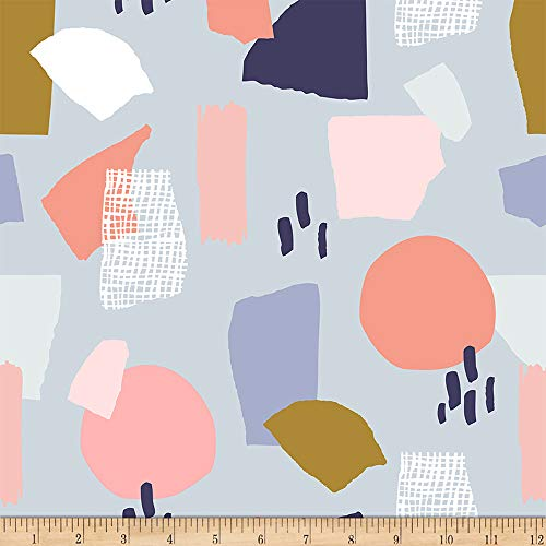 Fabri-Quilt Ampersand Abstract Collage Abstract Shapes Muted/Light Grey, Fabric by the Yard ()