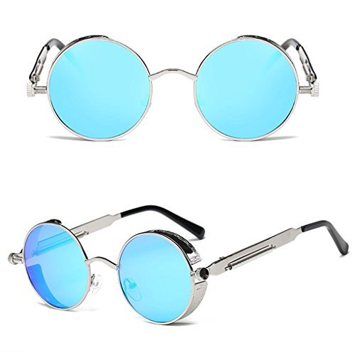 Itemap Fashion Men Women Steampunk Sunglasses Designer Vintage Metal Round Eyeglass New (Silver+Ice - Eyeglasses Ice