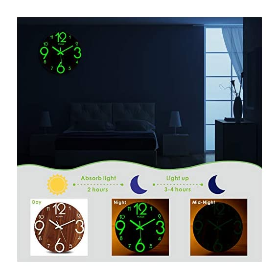 Plumeet Luminous Wall Clocks - 12'' Non-Ticking Silent Wooden Clock with Night Light - Large Decorative Wall Clock for Kitchen Office Bedroom (Wood) - GLOWING CLOCK ADVANTAGE -- Night lights function & long light up time, super quiet & non-ticking, big numbers perfect for the elderly or the visually restricted people. INCREDIBLE LUMINOUS TIME -- Light up more than 3 hours if clock receives enough sunlight at day, Four extra large numbers makes it easier to read at night. ANALOG SILENT CLOCK -- Precise quartz movements to guarantee accurate time, sweeping movement ensure a good sleeping and work environment. Made of wood, rich in rustic features. - wall-clocks, living-room-decor, living-room - 41yV8SZIvSL. SS570  -