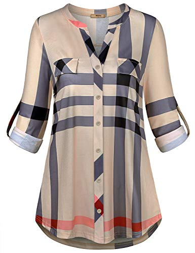Miusey Long Sleeve Shirt Women,Stylish Leggings Line Tunics V Neck Loosing Hemlines Pleated Drapping Clothes Collar Vintage Check Flattering Relaxed Comfortable Beige Plaid L ()
