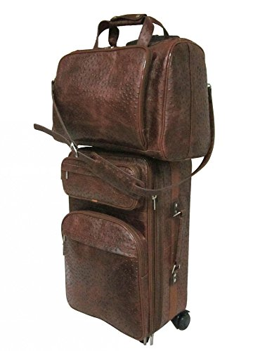 amerileather-leather-two-piece-set-traveler-brown-ostrich-print