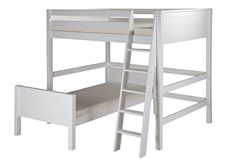 (Camaflexi Panel Style Solid Wood L-Shaped Loft Bed, Full-Over-Twin, Side Angled Ladder, White)