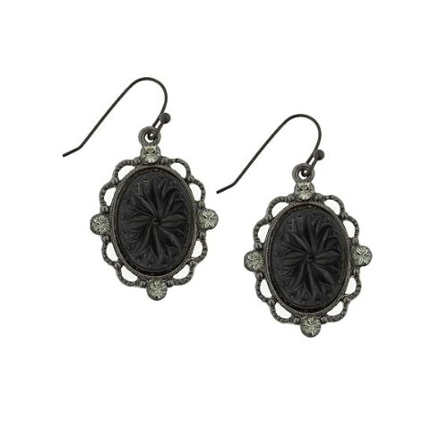 Vintage 1928 Costume Jewelry (1928 Jewelry Victorian Gothic Black Acrylic Oval Drop Earrings)