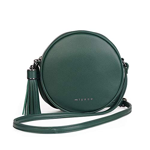 Women's Round Cross-Body Zipper Shoulder Bag Soft Leather Circle Purses and Handbags with Tassel (Green)