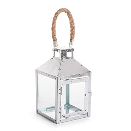 anized Metal Lantern with Hemp Rope Hanger ()