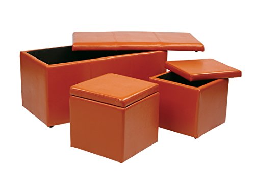 Office Star Metro 3-Piece Bench and Ottoman Cube Set in Vinyl, Orange