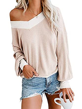 Oceanuslly Womens Beige Waffle Knit Tunic Tops Cute V Neck Long Sleeve Drop Shoulder Pullover Sweater 1660-xingse-S